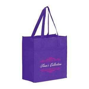 "Heavy Duty Non-Woven Grocery Tote Bag w/ Insert (13""x7""x14"") - Screen Print"