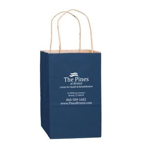 "Matte Color Paper Shopper Tote Bag (5""x3 1/2""x8"") - Foil Stamp"