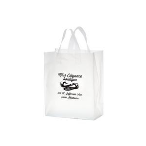 "Clear Frosted Soft Loop Plastic Shopper Bag w/Insert (10""x5""x13"") - Flexo Ink"