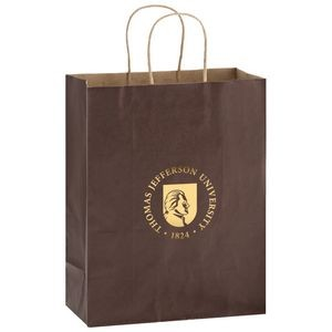 "Matte Color Paper Shopper Tote Bag (10""x5""x13"") - Foil Stamp"