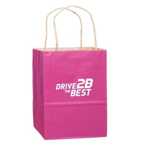 "Matte Color Paper Shopper Tote Bag (8""x4 3/4""x10 1/2"") – Flexo Ink"