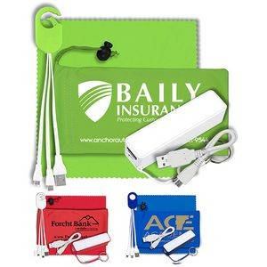 """ChargeBank"" Mobile Tech Power Accessory Kit w/Cables & Cloth in Cinch Pouch"