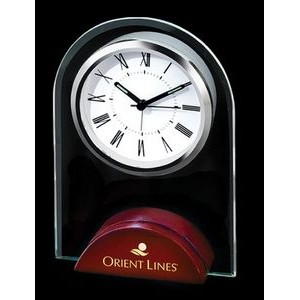 Arch Glass Alarm Clock w/Wooden Base