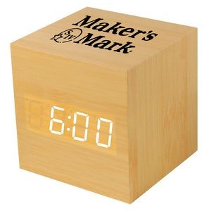 Wooden Square Alarm Clock w/Sound Triggered Display