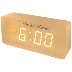 Large Wooden Alarm Clock w/Sound Triggered Display