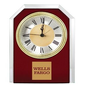 Mahogany Wood W/Glass Trim Glass Alarm Clock w/Wood Frame