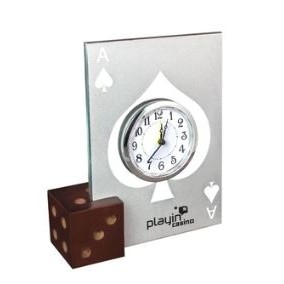Glass Casino Alarm Clock w/Wooden Dice Base