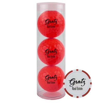 3-Ball Tube w/Colored Golf Balls & Poker Chip Ball Marker