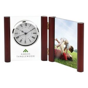 Clock - Silver Glass Desk Alarm Book Clock Photo Frame (Imprinted)