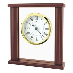 Upright Wood and Glass Desk Alarm Clock