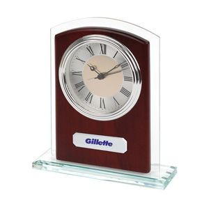 Glass & Wood Desk Alarm Clock w/ Silver Trim