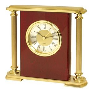 Piano Wood Finish Wood Desk Alarm Clock w/Brass Pillars