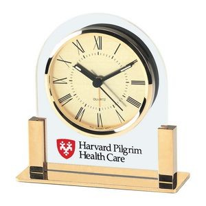Clock - Acrylic & Gold Color Finish Alarm Clock w/ Gold Dial