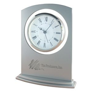 Clock - Sprayed Silver Glass Alarm Clock
