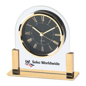 Clock - Acrylic & Gold Color Finish Alarm Clock w/ Black Dial