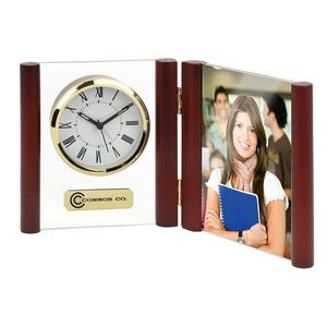 Clock - Brass Gold Glass Desk Alarm Book Clock Photo Frame (Imprinted)