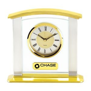 Heavy Glass & Brass Mantel Desk Alarm Clock w/Silver Columns
