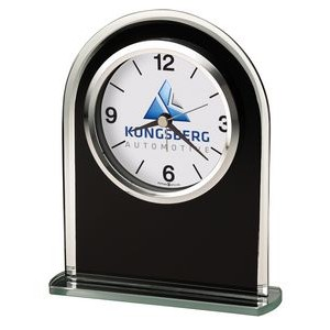 Howard Miller Ebony Luster glass arched tabletop clock (Full Color Dial)
