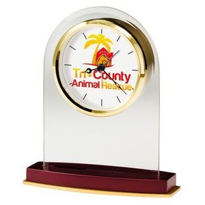Howard Miller Anson arch shaped glass tabletop clock (Full Color Dial)