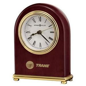 Howard Miller Gloss Rosewood Arch Clock w/ Brass Feet