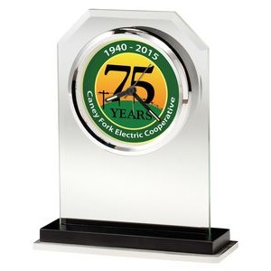 Howard Miller Emerson beveled glass tabletop clock (Full Color Dial)