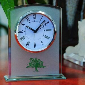 Round Glass Table Alarm Clock W/Sandblast Finish