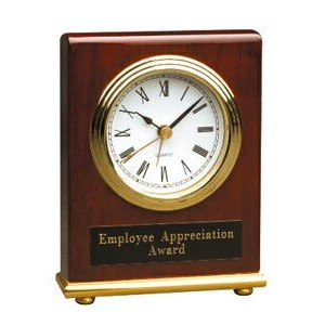 "Rosewood Piano Finish Desk Clock (Battery Included) - 4""x5"""
