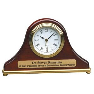 Rosewood Mantle or Desk Clock - Laser Engraved Plate