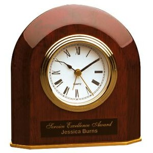 Rosewood Piano Finish Bevel Arch Desk Clock (Battery Included)