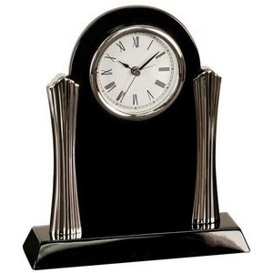 Black Piano Finish Desk Clock w/ Silver Metal Columns - Laser Engraved Plate