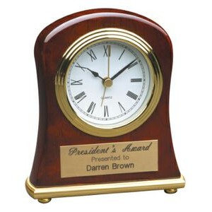 "Rosewood Piano Finish Bell Shaped Desk Clock (Battery Included) - 4 1/2""x5"""