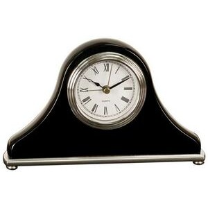 Black Mantle or Desk Clock w/ Silver Trim - Laser Engraved Plate