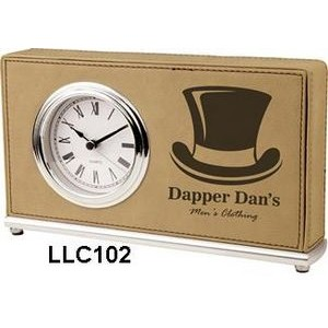 Leatherette Horizontal Desk Clock-Light Brown/Engraves Black.