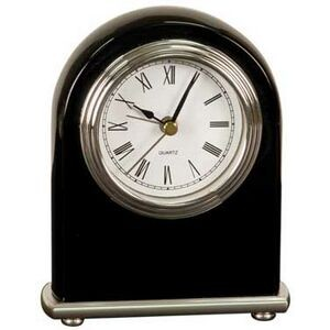 Black Arch Desk Clock w/ Silver Bezel & Silver Trim - 5""