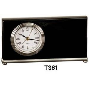Horizontal Desk Clock, Black, Silver Bezel/Base - Laser Engraved Plate