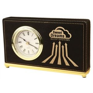 Leatherette Horizontal Desk Clock-Black/Engraves Gold.