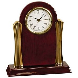 Rosewood Desk Clock w/ Gold Metal Columns - Laser Engraved Plate