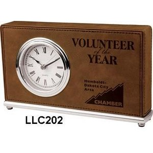 Leatherette Horizontal Desk Clock-Dark Brown/Engraves Black.