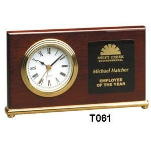 Rosewood Horizontal Desk Clock w/ Gold Trim - Laser Engraved Plate